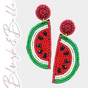 Sweet Watermelon Red Beaded Earrings